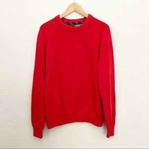 Lands End Drifter Sweater Red Crew Neck Large